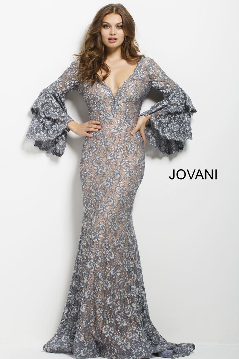 Jovani 57048 bell sleeve lace evening dress in 2020 lace