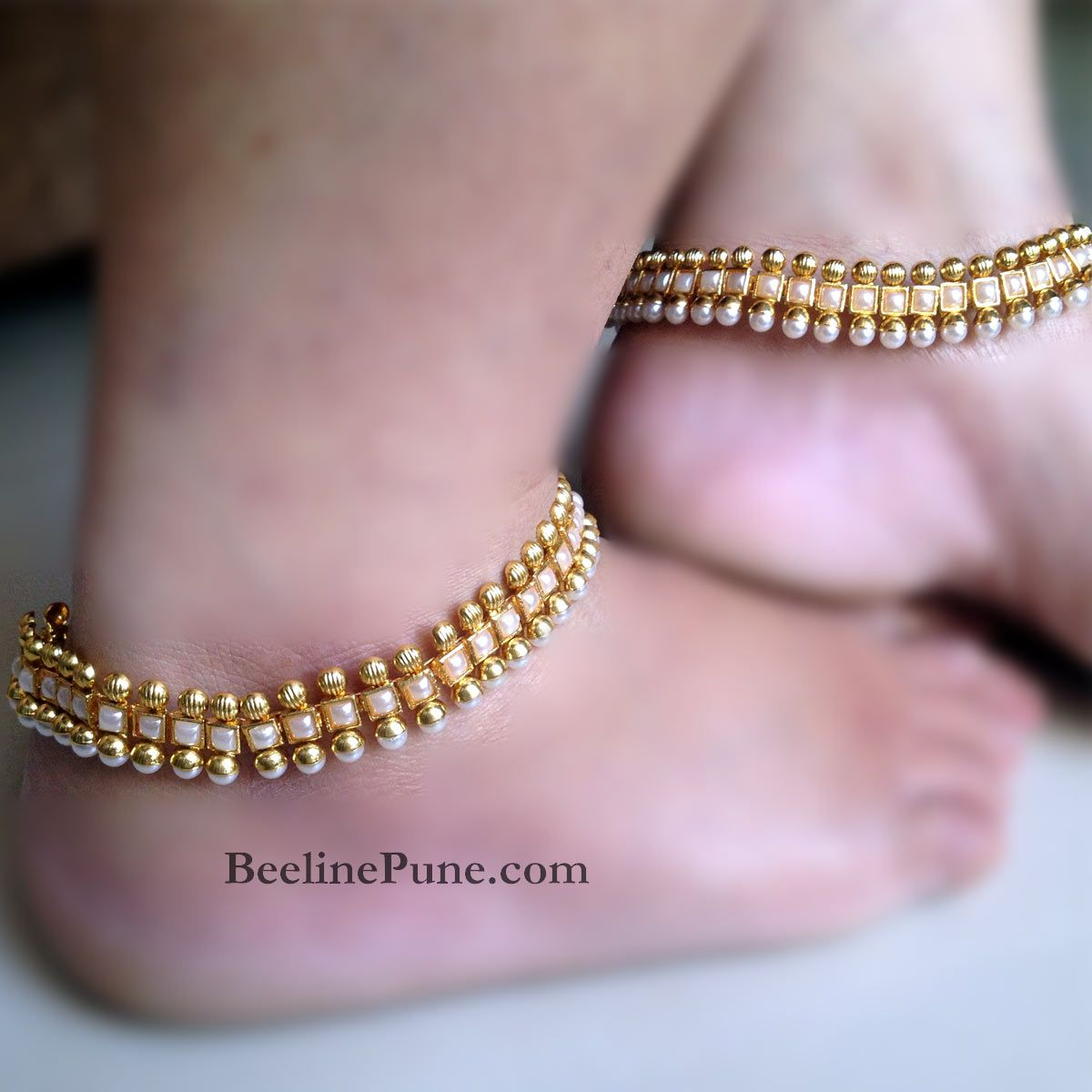 pearl jewellery plated gold leg antique chain fancy anklet payal online shopping fashion img