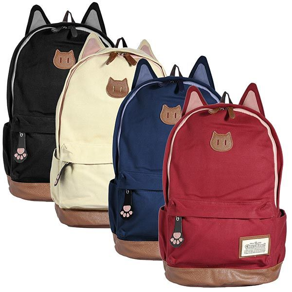 c6975d75d52c girls backpacks with cats | Girl Cute Canvas Cat Ear Backpack School ...