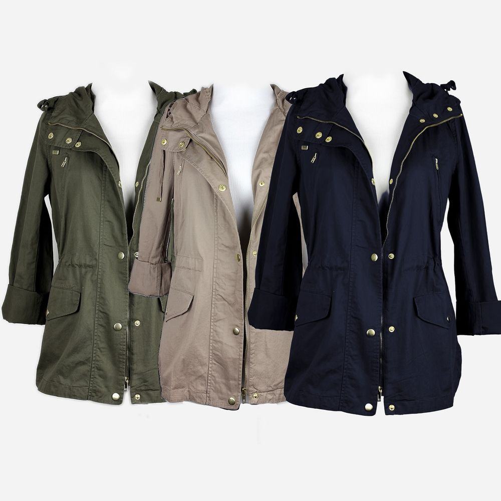 Details about new women's military utility jacket olive green ...