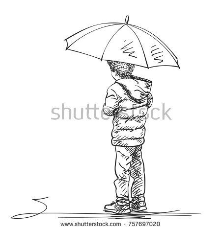 vector sketch of boy standing under umbrella hand drawn