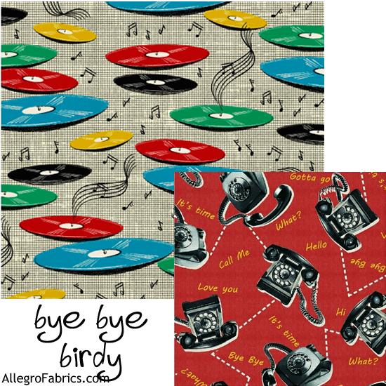 Bye Bye Birdie by American Vintage Fabrics for Windham Fabrics Records Record Vinyl Disc Retro on Gray