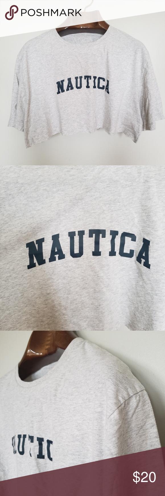 ❤ (3/$20) Nautica // spell out cropped t-shirt • S i z e R e f e r e n c e • -Model: 5″2 • D e t a i l s • -Self cropped (raw hem) -C…