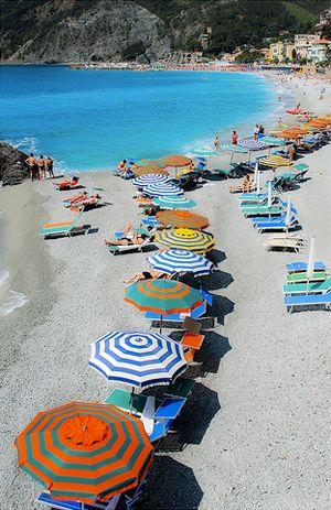 the beaches in liguria, italy