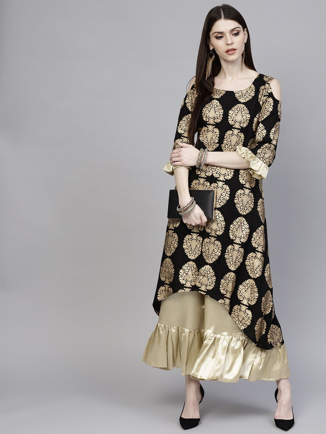 56ab3937d1 Libas Women Black & Golden Printed Kurta With Palazzos - Kurta Sets for  Women 7719033 | Myntra #printedkurta #palazzos #kurtaset #kurta #kurtas  #kurti ...