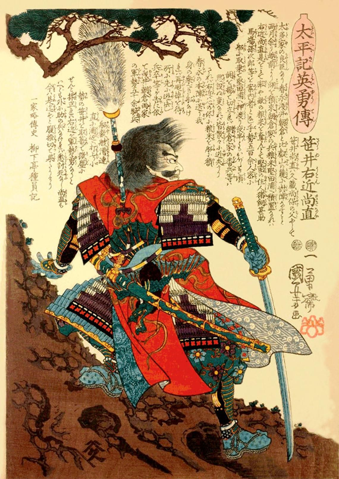 Japanese Reproduction Woodblock Print of a  Samurai Warrior 6 on A4 Canvas Paper
