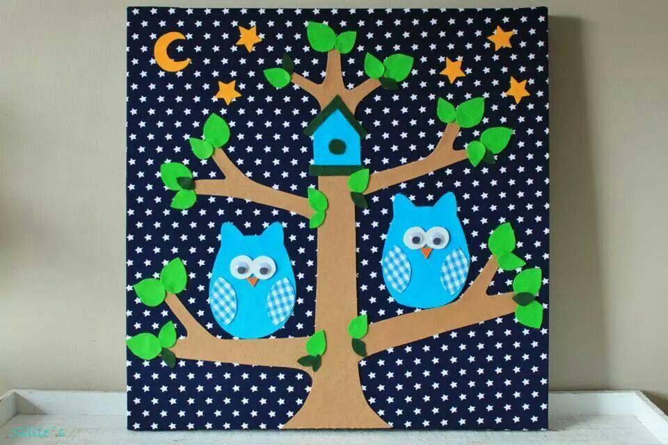 Stoffenschilderij op een canvas van 50x50cm uiltjes in een boom kijk voor meer babykamer - Babykamer decoratie ...