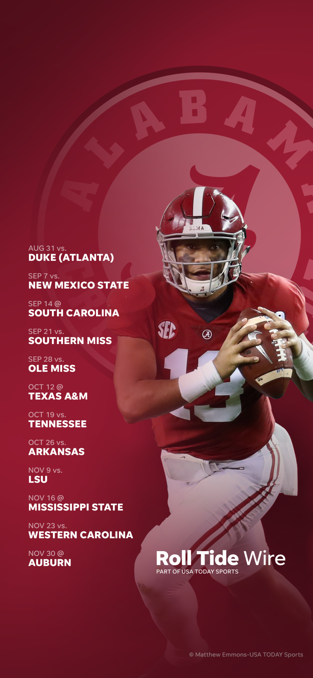 2019 Alabama Crimson Tide football schedule Downloadable