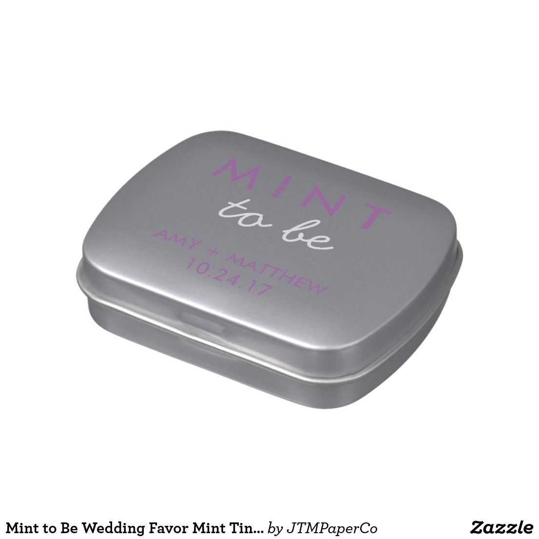 Mint to Be Wedding Favor Mint Tin Gray Purple Candy Tin
