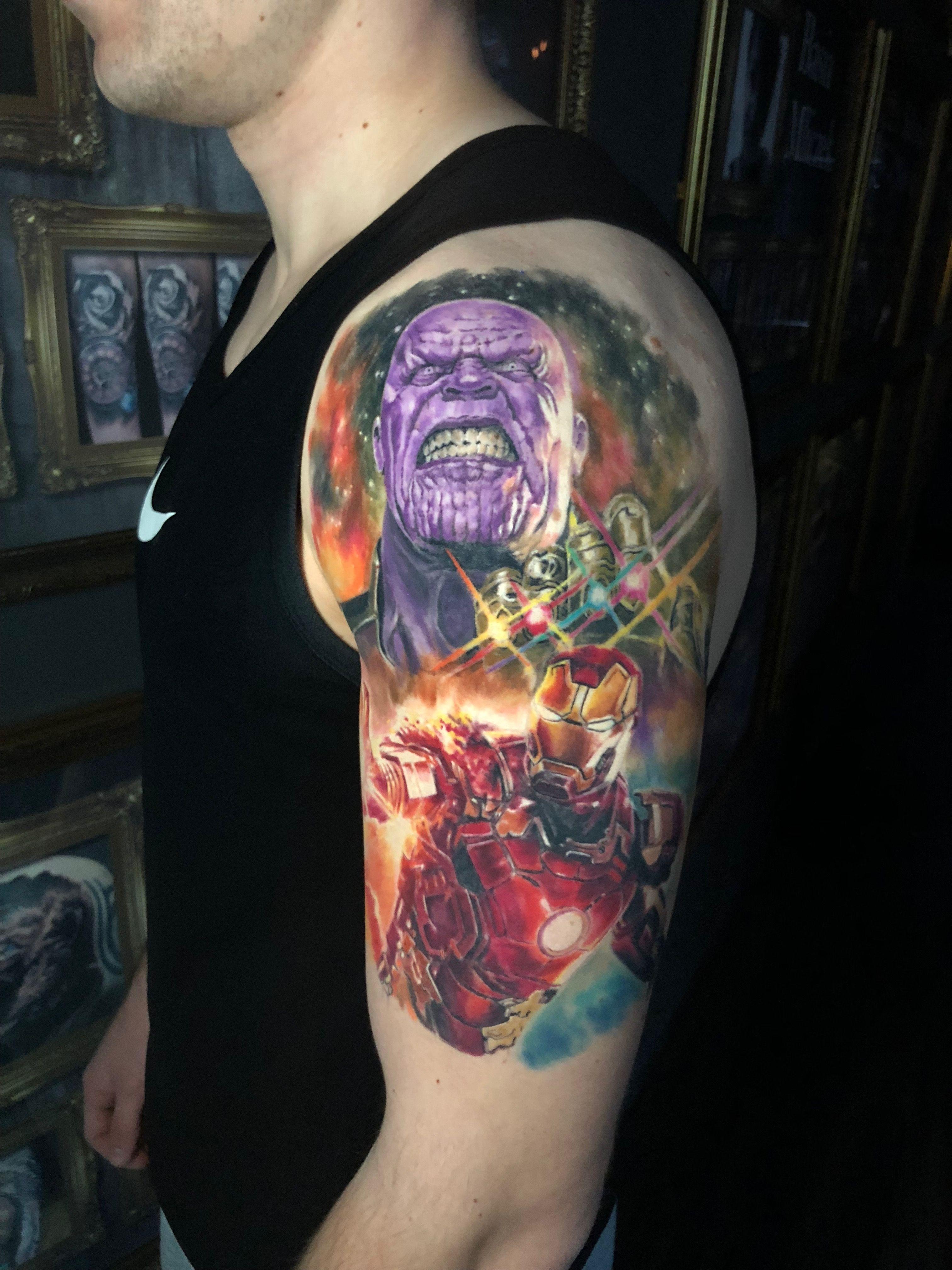 Fully healed marvel thanos ironman tattoo by roman