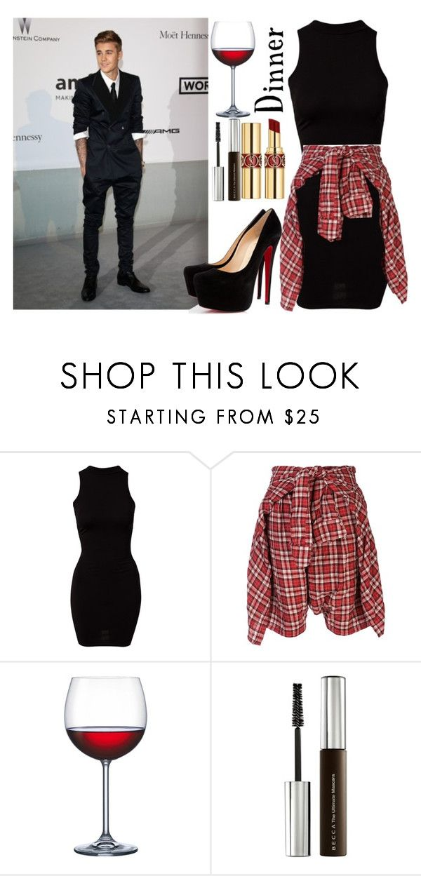 """Dinner w/ Justin Bieber"" by wandelareoceane ❤ liked on Polyvore featuring Justin Bieber, Christian Louboutin, River Island, R13, Home Essentials, Becca, Yves Saint Laurent, birthday, bieber and justin"