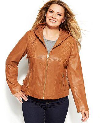 b938135213d MICHAEL Michael Kors Plus Size Knit-Inset Hooded Leather Jacket - Jackets    Blazers - Plus Sizes - Macy s