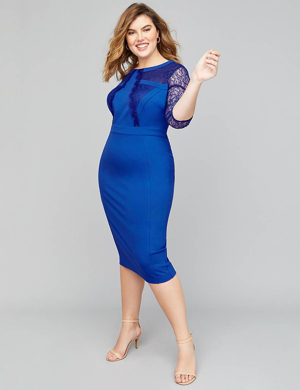 78e88c8718d Lane Bryant Lace-Sleeve Ponte Sheath Dress in 2019