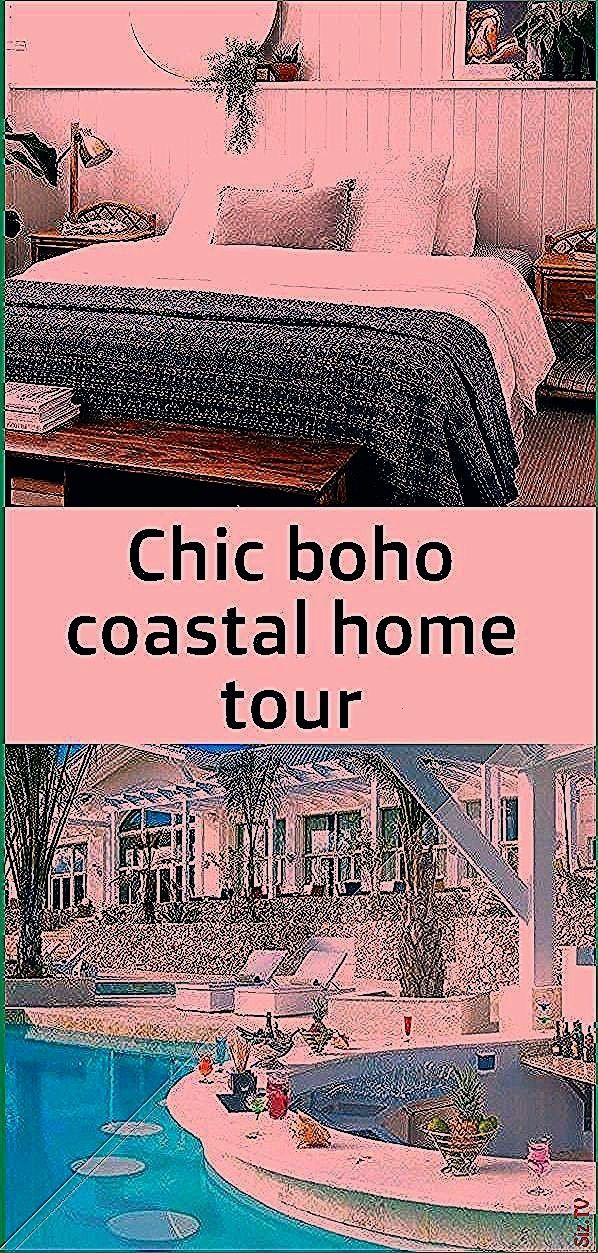 boho coastal home tour Bedroom with full length half height wall shelf for styling plants artwork mirror and other decor VJ panel wall in bed boho Living RoomChic boho co...