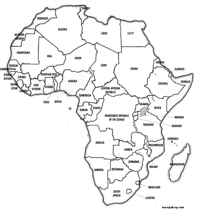 africa map countries outline