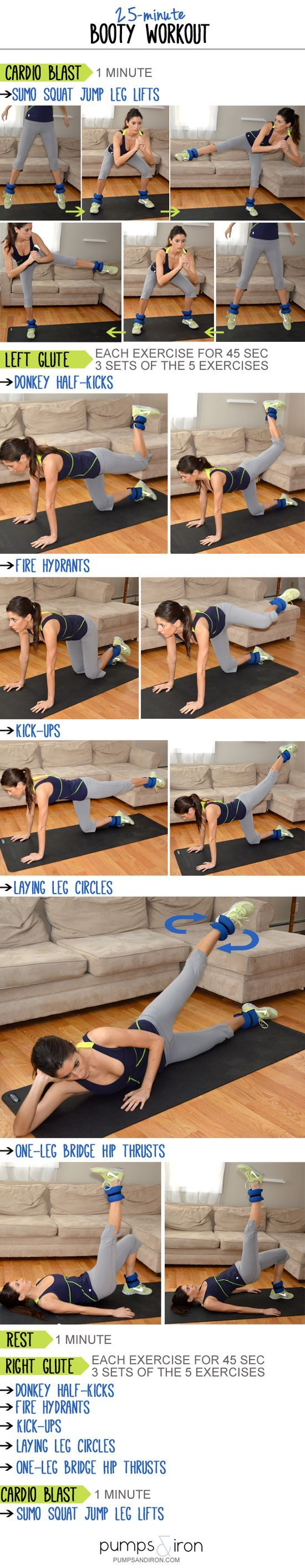 25 Minute Booty Exercise Fitnessworkouts Pinterest Exercises Full Body Circuit Workout With Weights Workouts