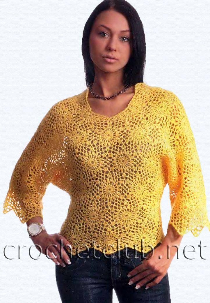 желтый пуловер из мотивов вязание крючком блог настика схемы