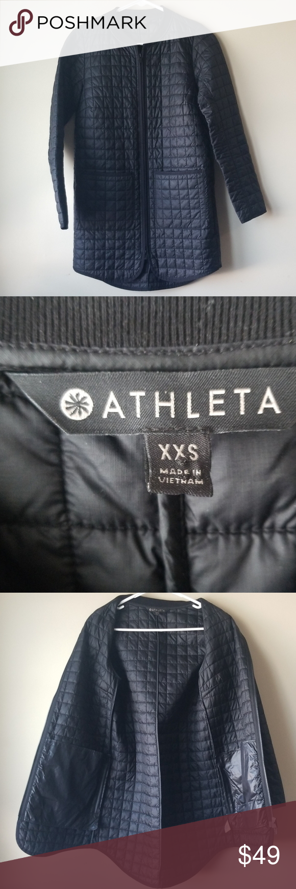 Athleta Black Quilted Mid Length Zip Jacket Coat Excellent pre-owned condition Approximate measurements: Armpit to armpit: 18
