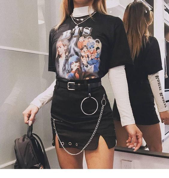 Rock style outfit #edgyoutfits