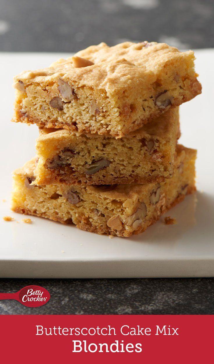 Butterscotch cakemix blondies recipe bars in 2019