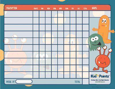 Free Printable Behavior Chart  Monster Theme Kid Pointz  Sen