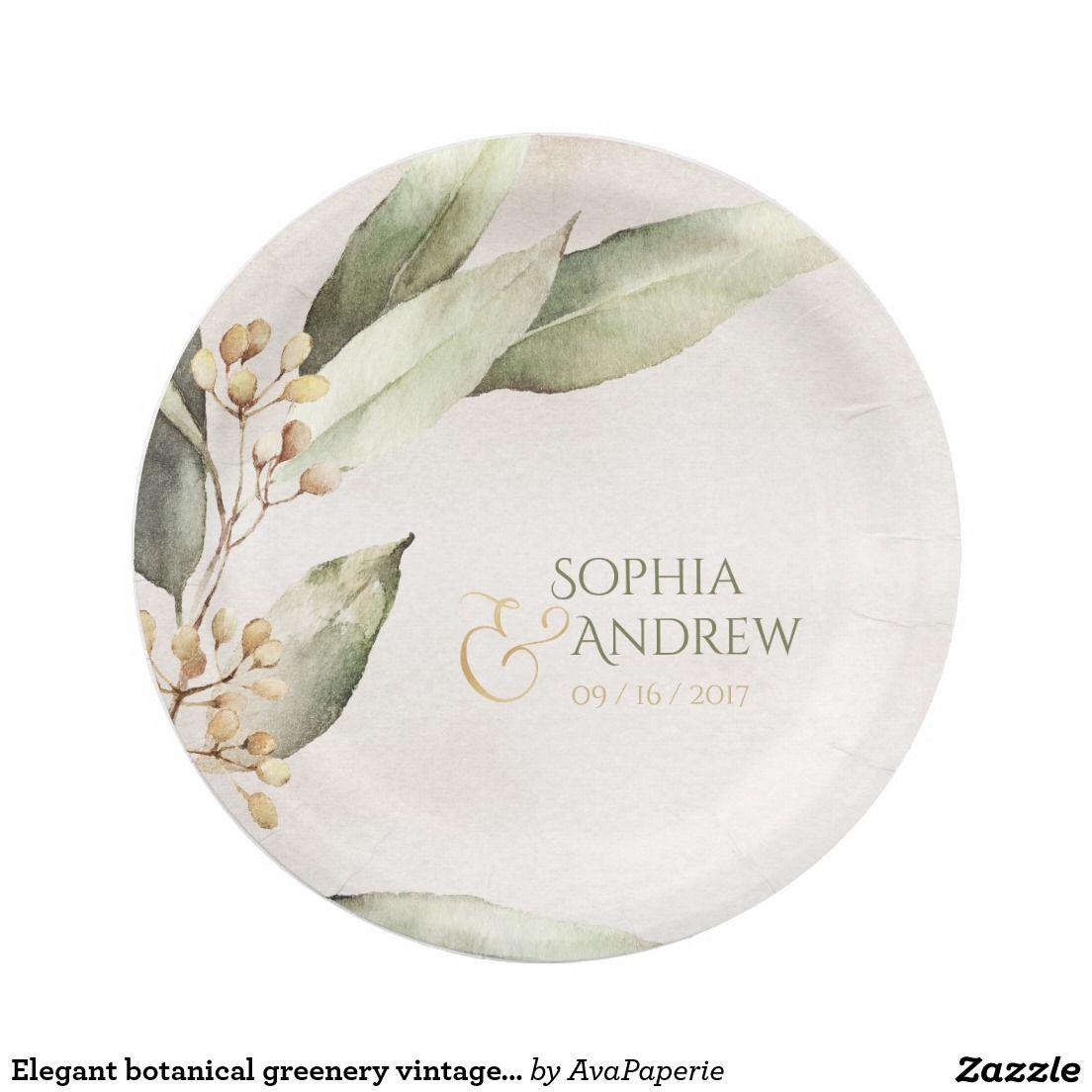 Elegant botanical greenery vintage rustic wedding paper plate ...