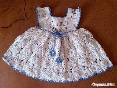Patrones vestidos tejidos a crochet para niñas01   Vestidos de niña ...