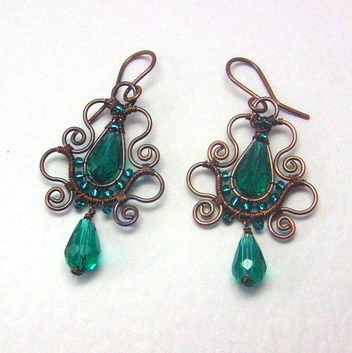 New to AnnaWireJewelry on Etsy: Emerald Teardrop Copper Earrings ...