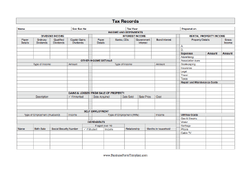 Use This Printable Business Form To Track Your Tax Information