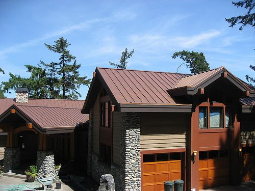 Copper Penny Roof With Cedar And Steel Board And Batten Siding Copper Roof House Metal Roofs Farmhouse Mountain Home Exterior
