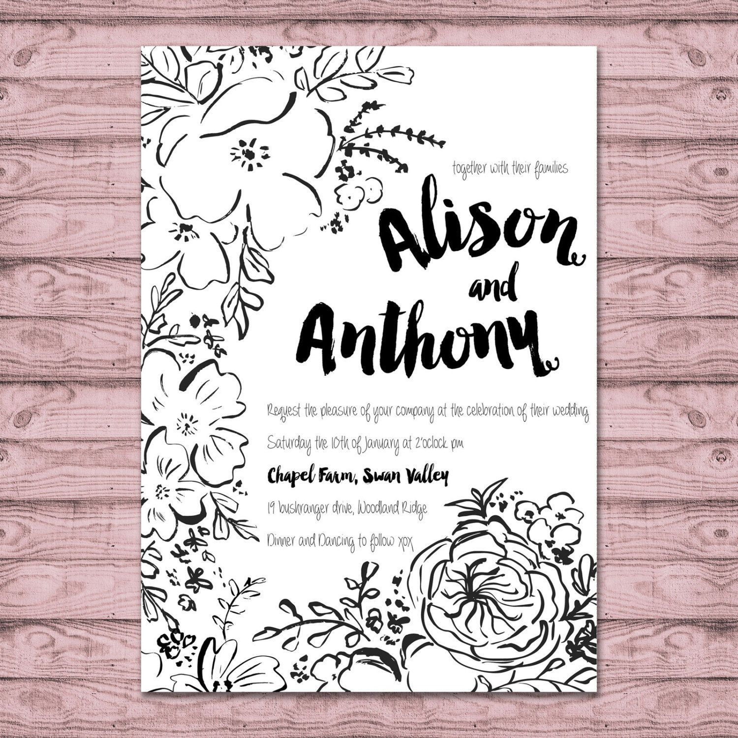 Black and White Wedding Invitation - Print at Home File or Printed ...