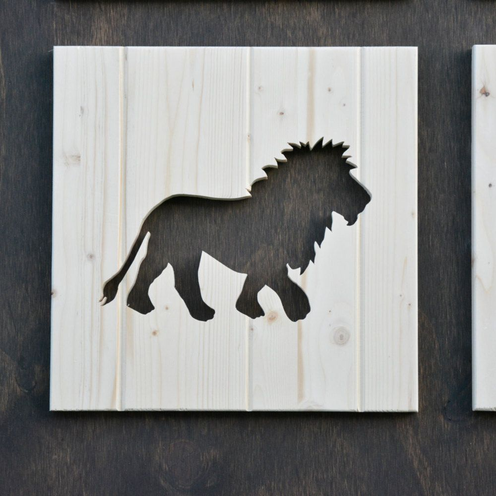 Lion Wood Silhouette Safari Animal Cutout By SkipToothCreations On Etsy