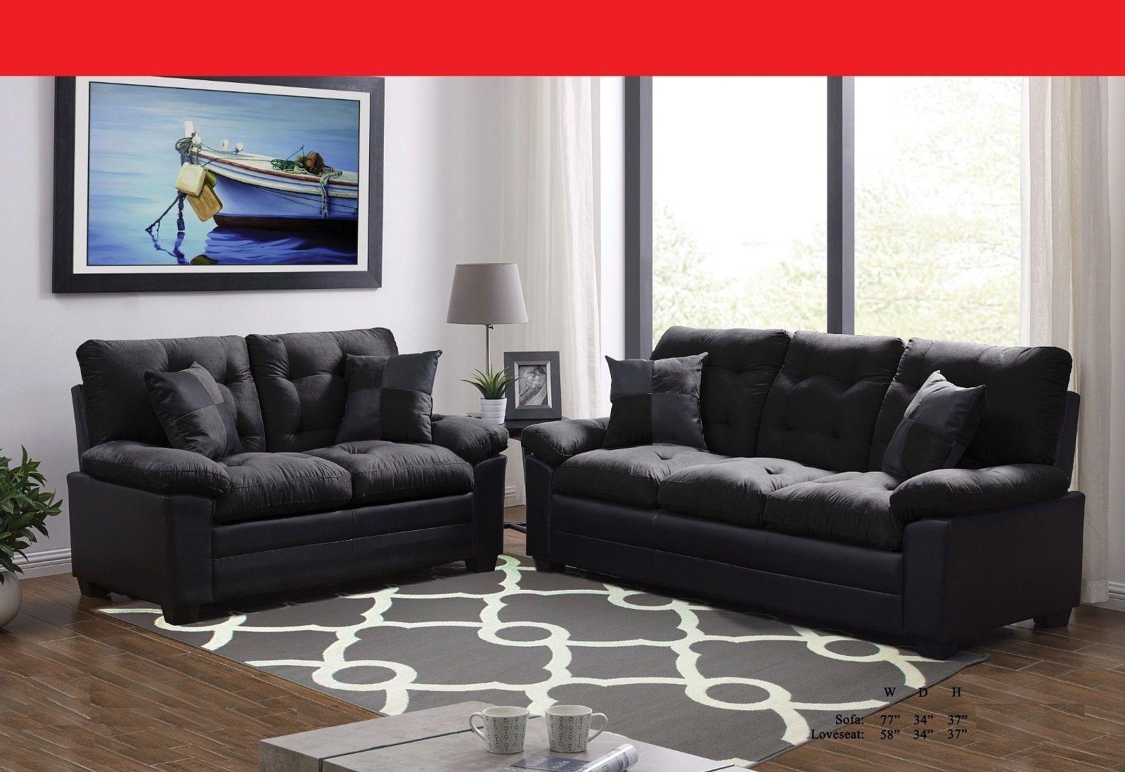 Living Room Plush Cushion Tufted Sofa And Loveseat Black Microfiber 2pc Sofa Set Microfiber Couch Ideas Of Microfiber Couch Mi Cushions On Sofa Sofa