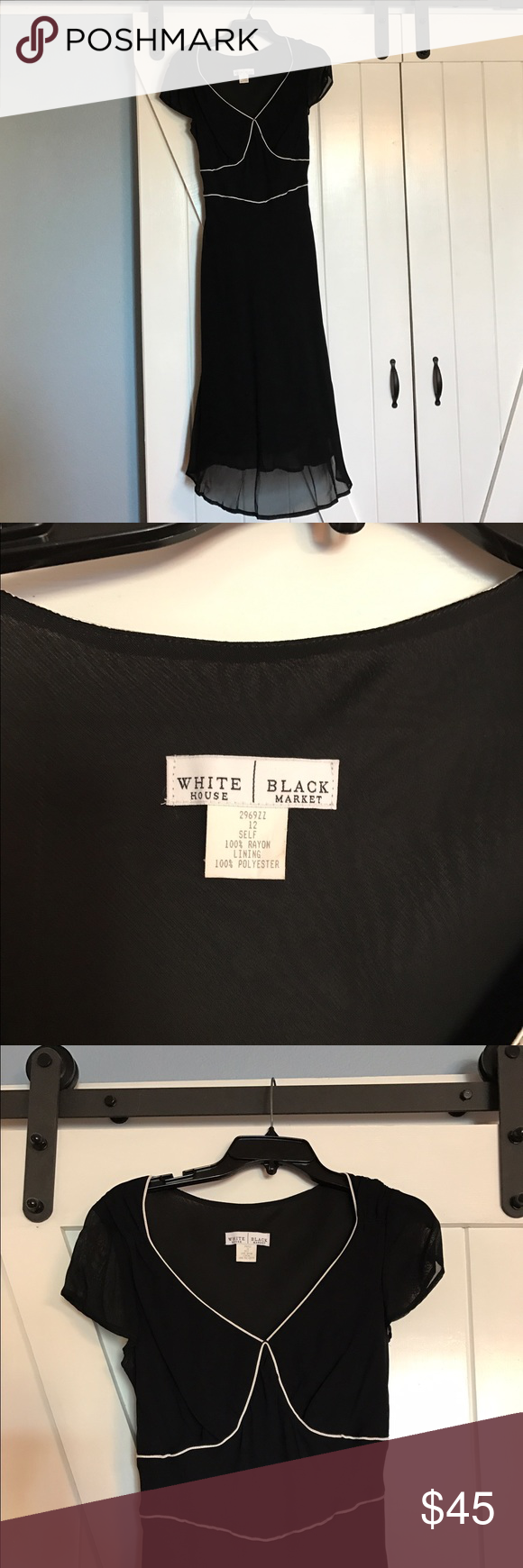 White House Black Market dress Gorgeous WHBM worn once. Has chiffon top layer that hits mid shin. Ties in back. No stains. Excellent condition White House Black Market Dresses