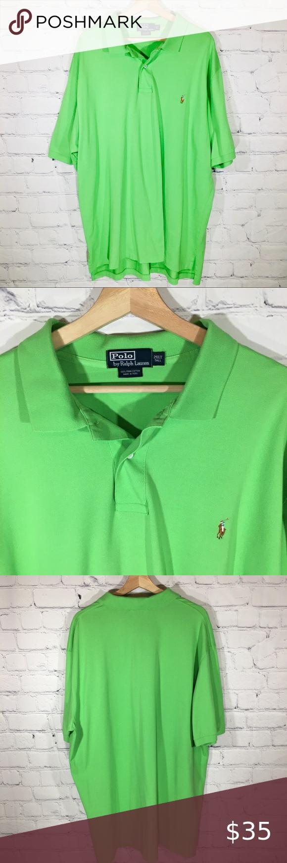 Polo By Ralph Lauren Bright Green Polo Shirt 2xlt Green Polo Shirts Polo Ralph Lauren Shirts