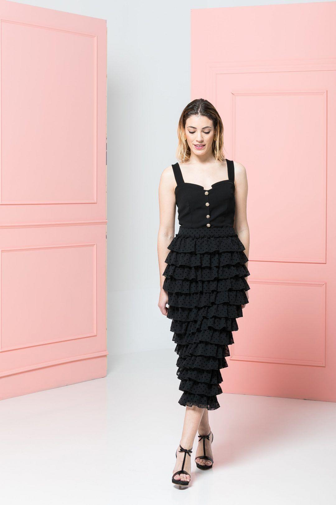 Falda volantes y corset negro | Pinterest | Vestidos invitada boda ...
