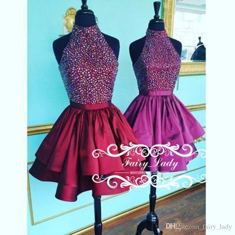 Shiny Crystal Short Homecoming Dresses For Juniors Major Beading
