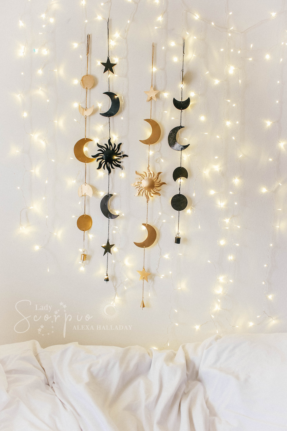 Love the way the lights are arranged  Wall decor bedroom, Hanging