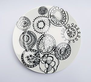Funky Circles Dinner Plate - for a wall arrangement.  sc 1 st  Pinterest & Funky Circles Dinner Plate - for a wall arrangement. | Decorating ...