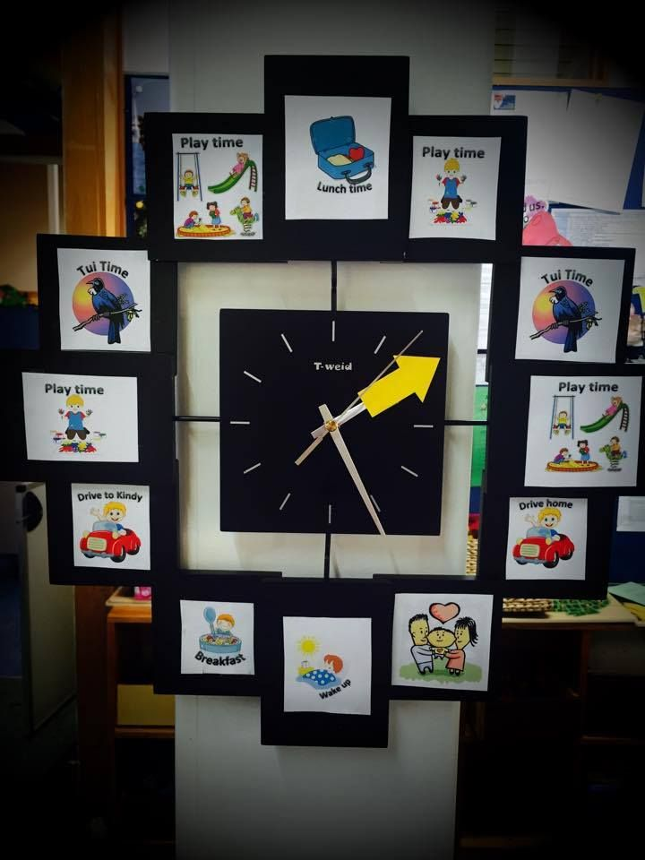 Photo of Kindy Clock- a picture schedule for Child Care or Preschool