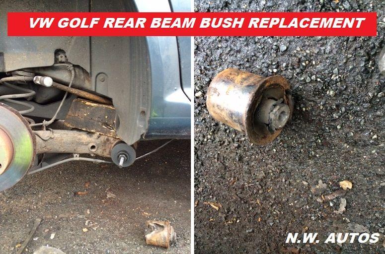 VW GOLF REAR BEAM AXLE BUSH REPLACEMENT. Mobile mechanic