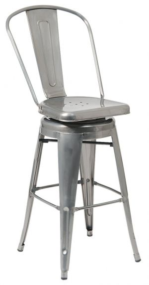 Bistro Style Metal Swivel Bar Stool In Clear Finish Metal Bar Stools Bar Stools Swivel Bar Stools