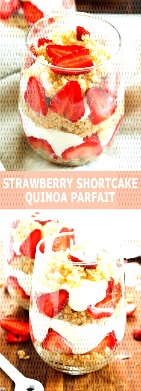 Layers of sweetened quinoa with Greek yogurt and strawberries make for a strawberry shortcake quin
