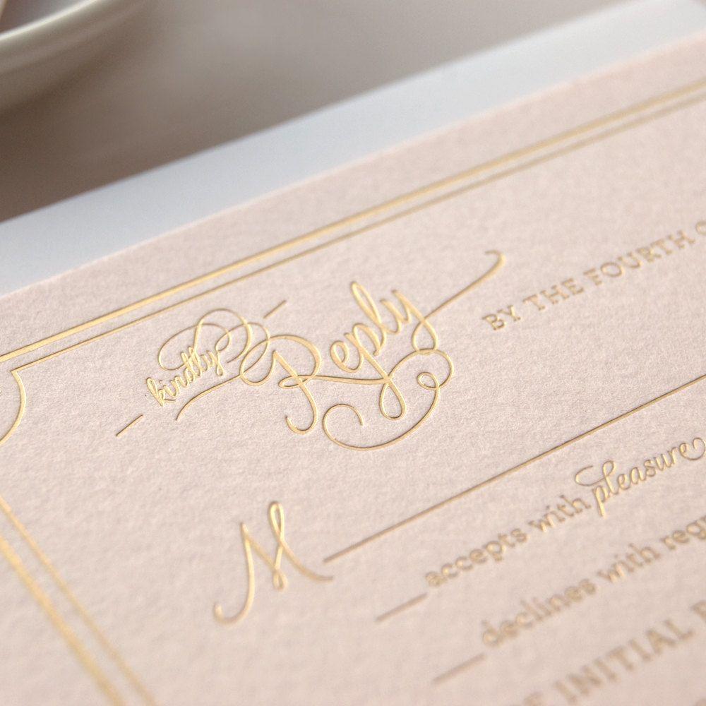Metallic Gold Foil Letterpress Wedding Invitation on Pink Paper ...