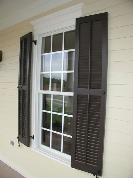 Louvered Shutters Faux Tilt Rod Pull Ring Hardware Shutters Exterior Gray House Exterior Exterior Paint Colors For House