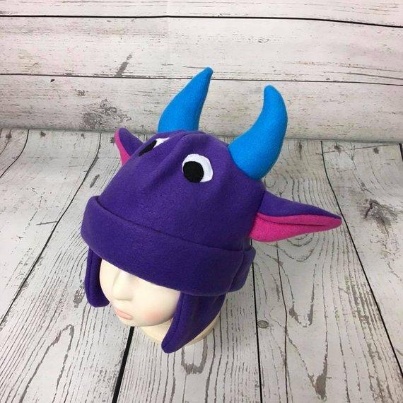 150c1d5d7dc75e Baby and Kids Purple and Blue Monster Fleece Hat, Kids Monster Winter Hat,  Toddler Monster Hat, Purp
