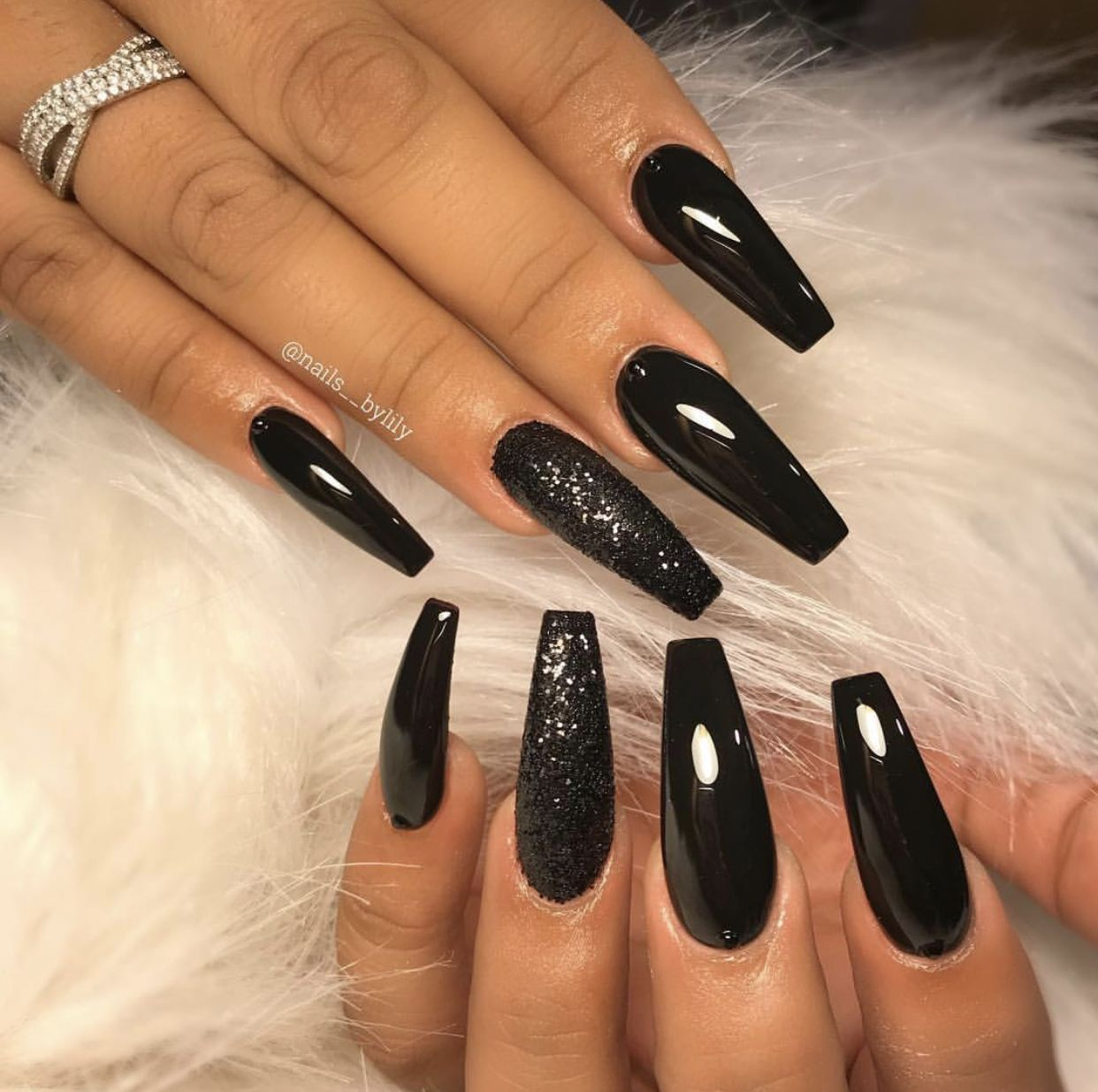 Theglitternail Get Inspired Long Black Coffin Nails With Chrome Effect And Glitter P Black Coffin Nails Black Nail Designs Coffin Nails Designs