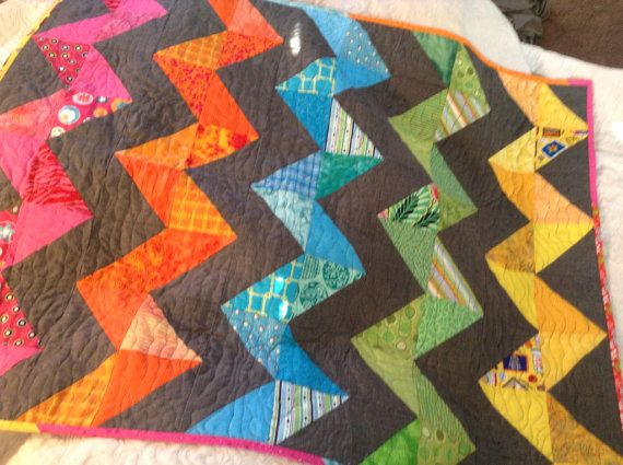 Awesome rainbow and grey chevron baby quilt  on Etsy, $62.00