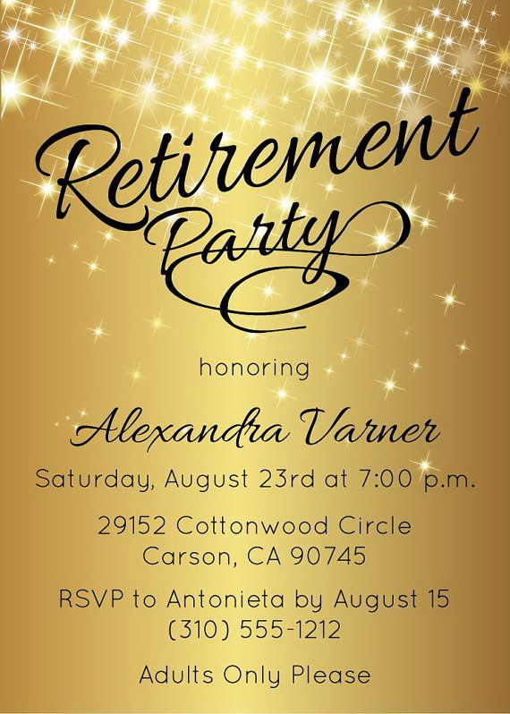 Retirement Party Invitation  Printable Sparkly Gold Retirement