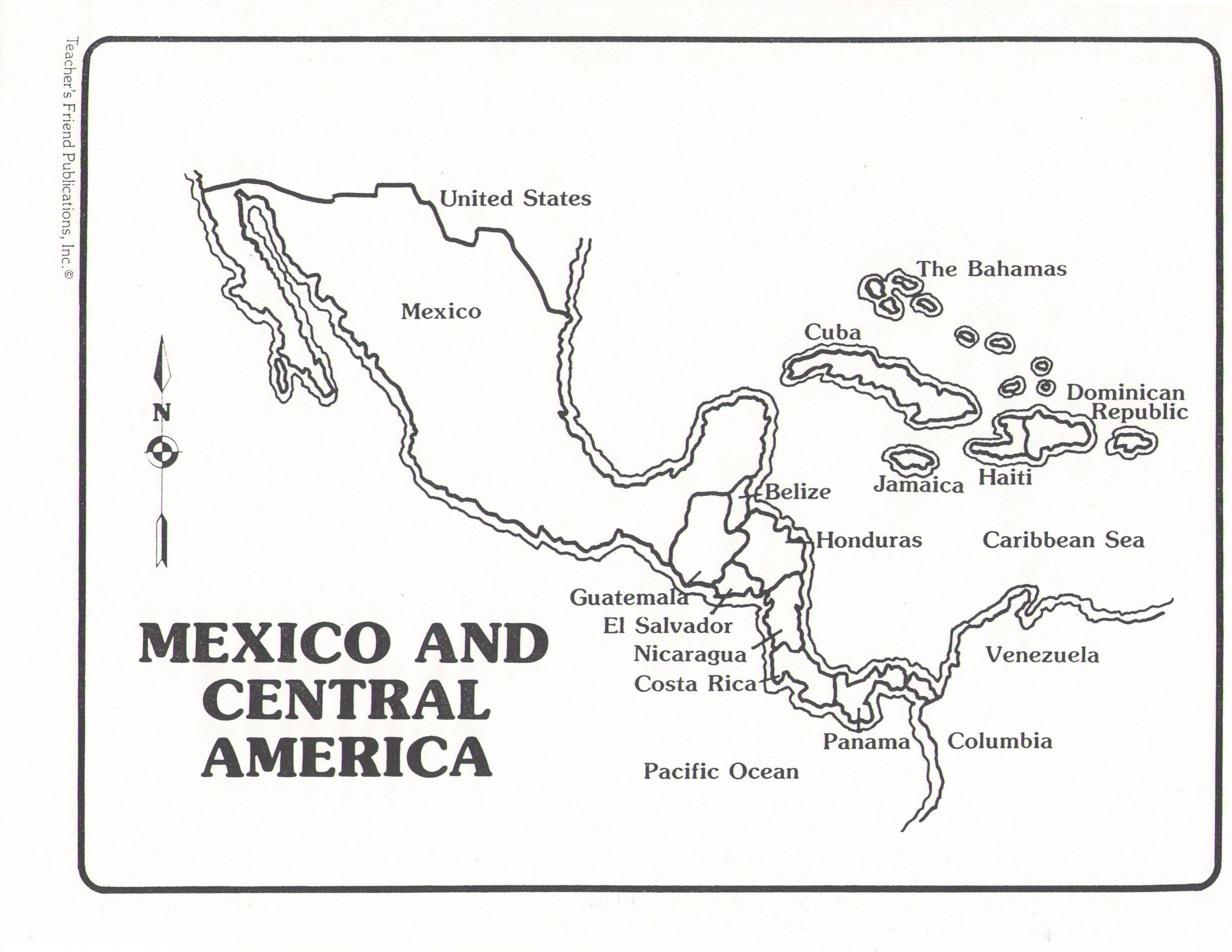 Coloring Sheet Map Of Central America